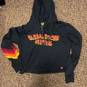 Aviator Nation Charcoal Crop Sweater